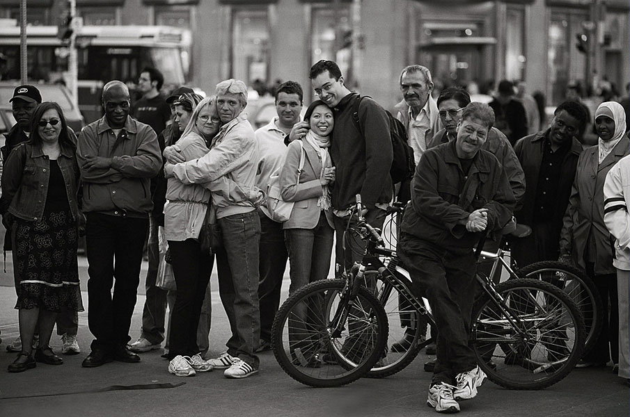 a crowd, a hug