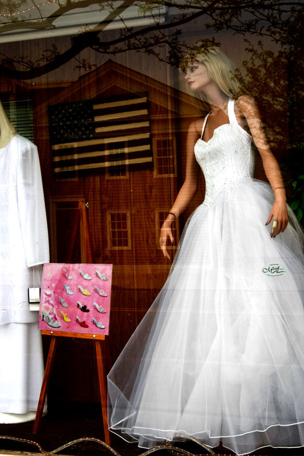 wedding dress with shoe options and flag
