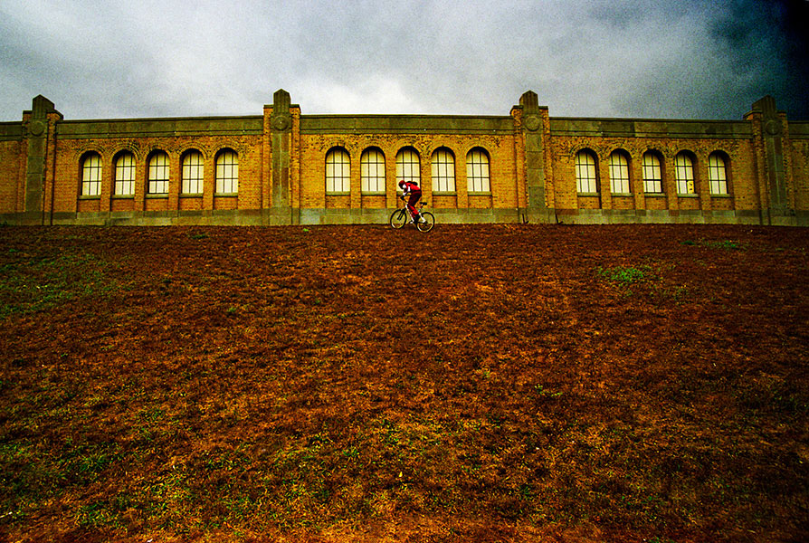 water plant with uphill cyclist