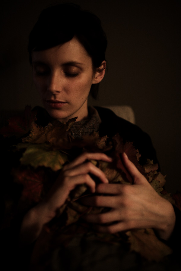 sarah, leaves, hands